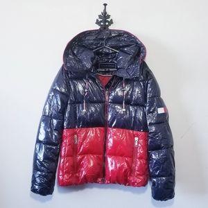 Tommy Hilfiger Shiny Colorblock Puffer Jacket Size M
